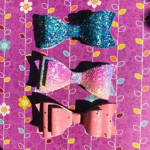 Rainbow Glitter Hairbows